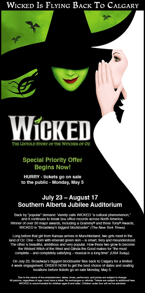 Wicked Calgary Priority Ticket Offer